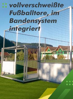 Fussballtor-integriert-Bandensystem